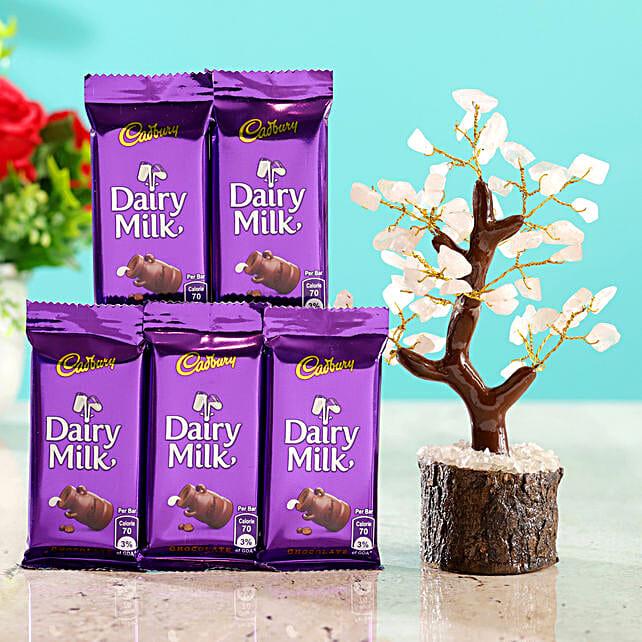 Rose Quartz Wish Tree & 5 Cadbury Dairy Milk