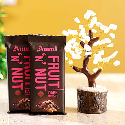 Rose Quartz Wish Tree & Amul Fruit N Nut