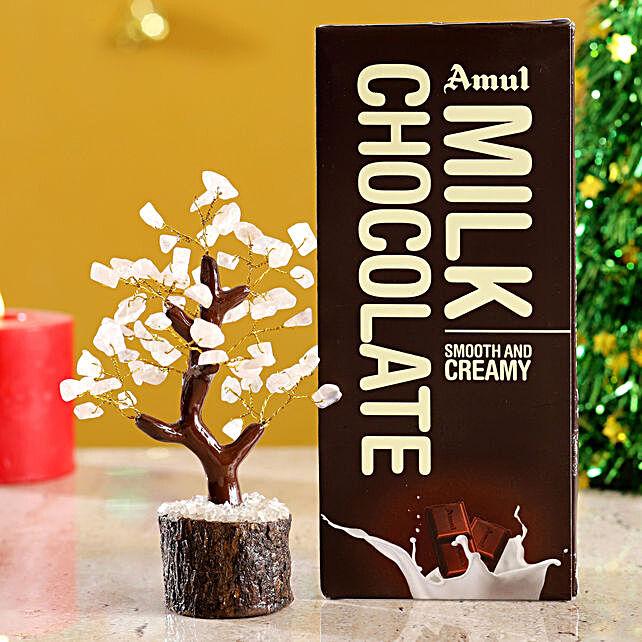 Rose Quartz Wish Tree & Amul Milk Chocolate