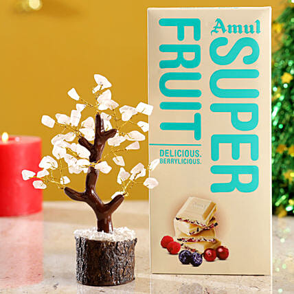 Rose Quartz Wish Tree & Amul Super Fruit Chocolate