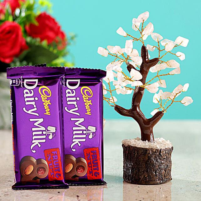 Rose Quartz Wish Tree & Cadbury Fruit N Nut