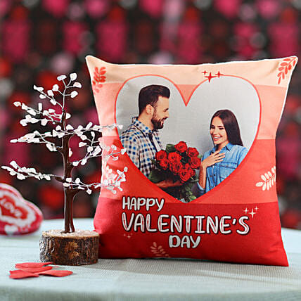 wish tree with printed cushion for valentines day