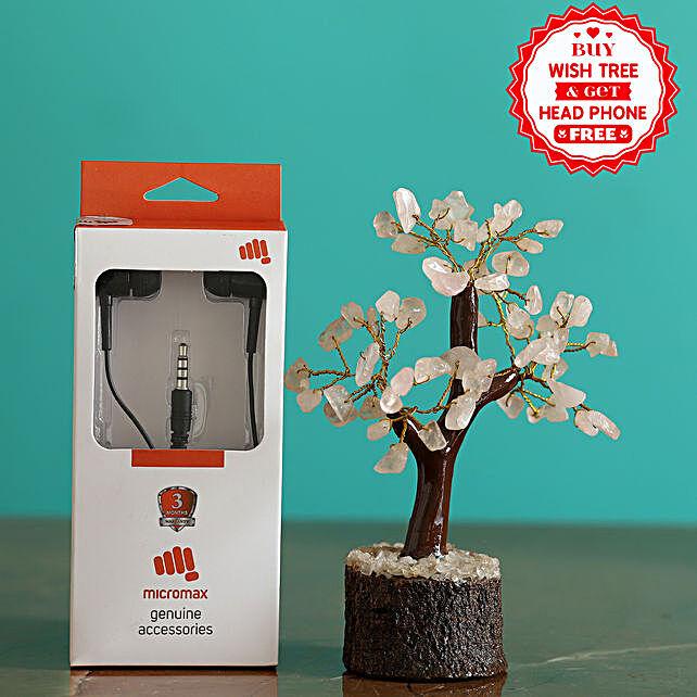 Rose Quartz Wish Tree With Free Micromax Earphone:Mobile Accessories