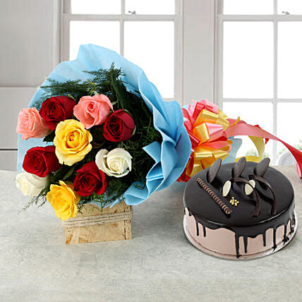 Rose Repose - Bunch of 10 Mix colour roses & 500gm Chocolate:Flowers & Cakes for Birthday