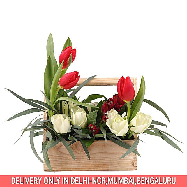 Mixed Flower Basket Arrangmnet:Send Tulips