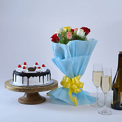 Roses & Black Forest- 500 grams of black forest and Bunch of 10 mix colour.:Flowers N Cakes - birthday