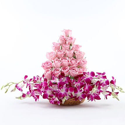 Cane Basket arrangement of 20 pink roses and 6 purple orchids womens day women day woman day women's day:Flower Basket Arrangements