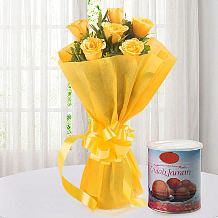 Roses N Gulab Jamun - Bunch of 6 Yellow Roses with Gulab Jamun 1kg.