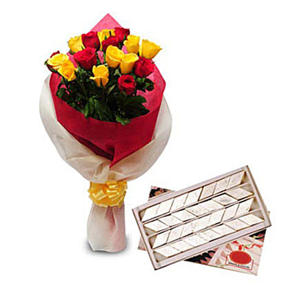 Roses N Kaju Katli - One Sided bunch of 9 yellow roses, 7 red roses in dual color two layer packing and box of 1kg Kaju Katli from Good Confectionery.