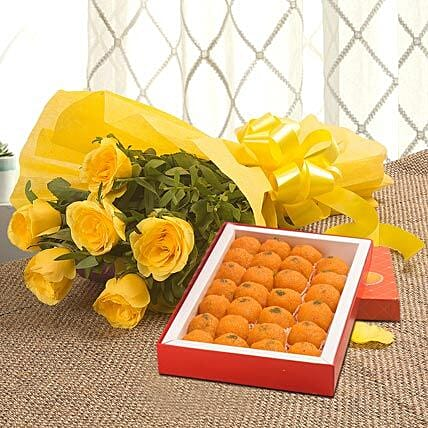 Roses N Ladoo - Bunch of 6 Yellow Roses with box of Ladoo 1kg.