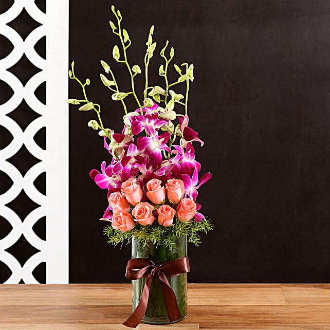 Online Rose and Orchids:Flower Vase Arrangements