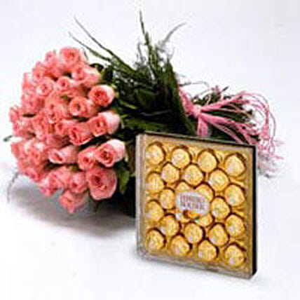 Roses With Chocolates - 30 pink roses nicely wrapped and 300gm Ferrero Rocher chocolates.