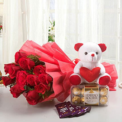Rosy Combo - Bunch of 12 Long Stem Fresh Red Roses with 5 Cadbury Dairy Milk chocolates 14gm each, 200gm Ferrero rocher chocolate box & Soft toy.:Roses And Teddies