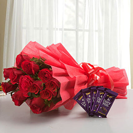 Rosy N Sweet - Bunch of 12 Long Stem Fresh Red Roses with 5 Cadbury Dairy Milk chocolates 14gm each.