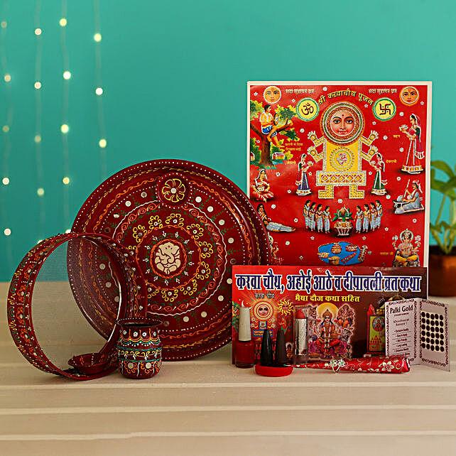 Royal Ganpati Art Red Karwa Chauth Thali Hamper