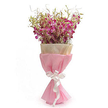 Royal Purple - Bunch of 15 Purple Orchids with white fillers in 2 layer paper packing of pink and white and white ribbon.