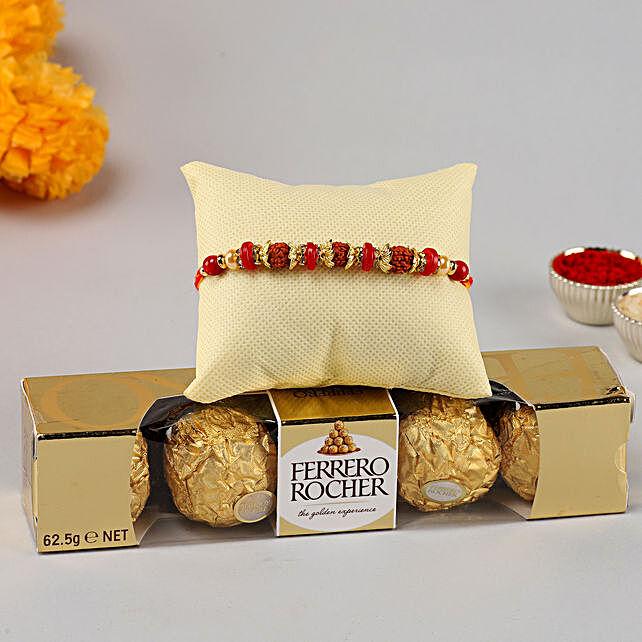 Rudraksha Rakhi & Ferrero Rocher- 4 Pcs