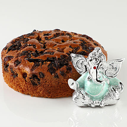 Rum & Raisins Dry Cake With Lord Ganesha Idol