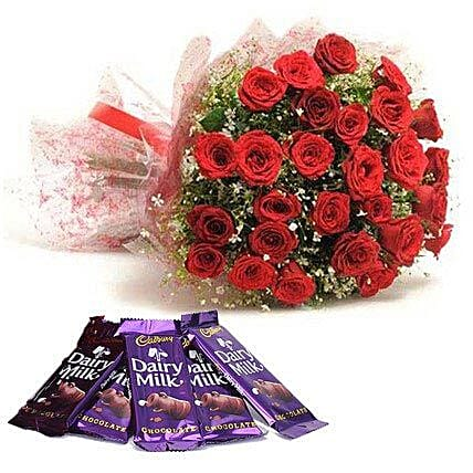 Bouquet of red roses and chocolates:Flowers to Bijapur