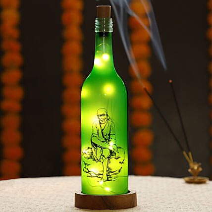 Sai Baba Printed LED Bottle Online:Send Led Bottle Lamp