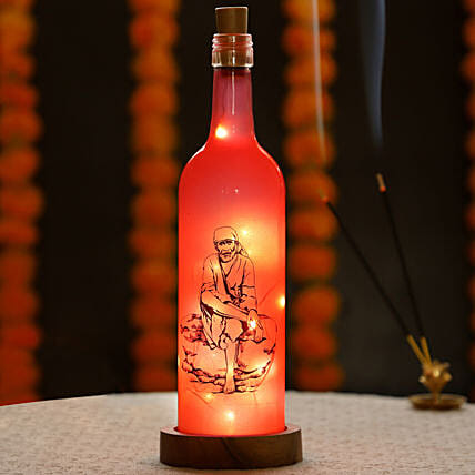 Online Sai Baba Printed LED Bottle:Bottle Lamp