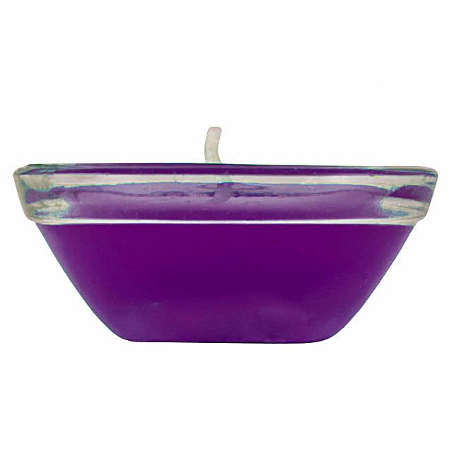 Online  Small Glass Purple Gel Diya:Send Diyas
