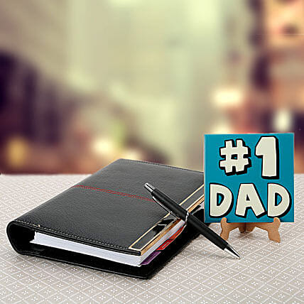 Combo of No 1 dad table top, executive organizer and a pen:Leather Gifts