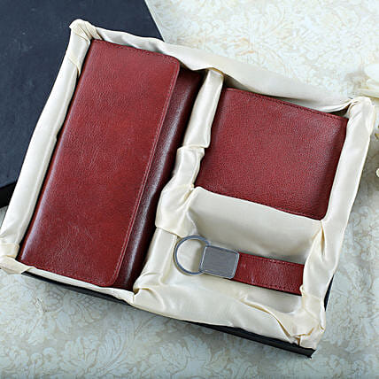 Say It With Leather Accessories-Wallet Card Holder 4X7.5 inches,small Wallet 5X4 inches,Key Chain 3 inches:Send Gift Hampers to Bhopal