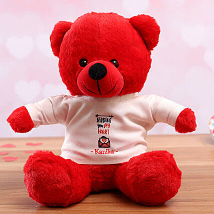 personalised tshirt teddy for vday:Valentines Day Soft toys