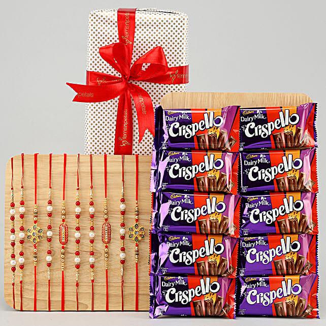 10 rakhis with chocolate bars online