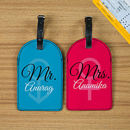 Set of 2 Personalised Mr & Mrs Luggage Tags