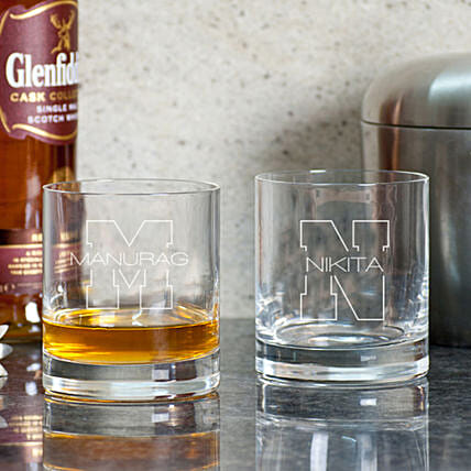 Personalised Whiskey Glasses Set For Couple