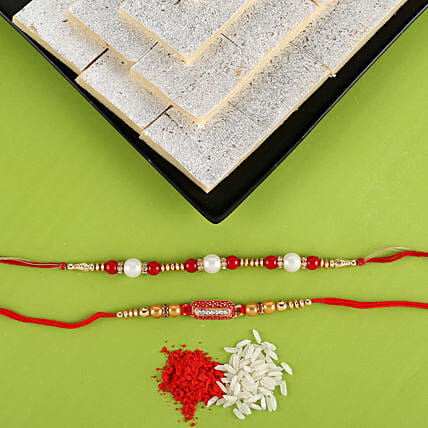 Set Of 2 Rakhis with Kaju Katli Combo