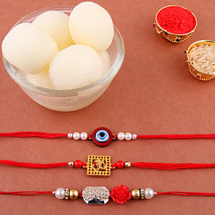 Set Of 3 Designer Rakhi Hamper