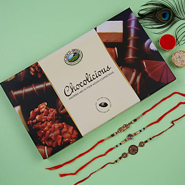 Set of 3 rakhis with chocolates online