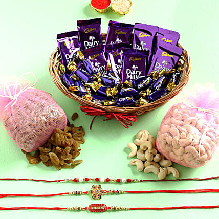 Set of 3 Rakhis With Choco Basket & Dry Fruits