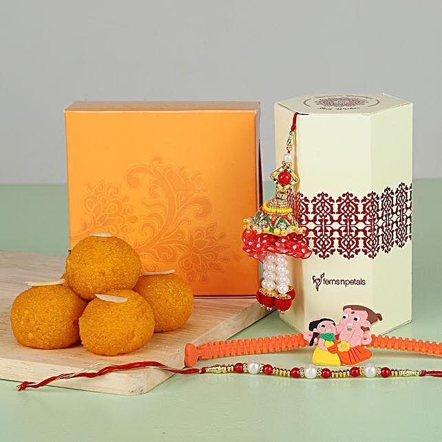 online set of 3 rakhi with sweet online