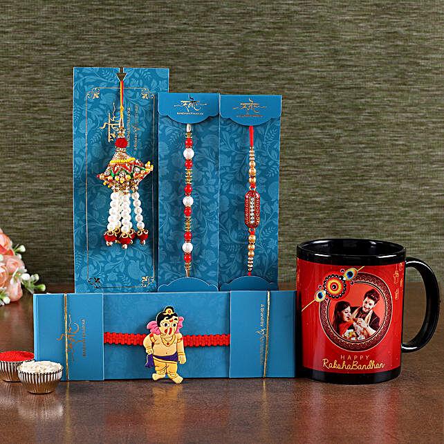 Rakhi with Photo Mug For Brother:Family Rakhi Set