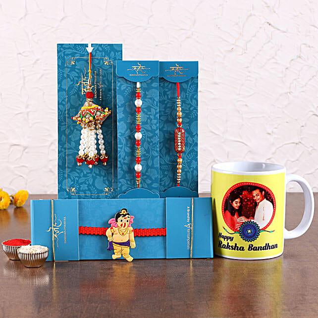 Rakhis Set with Customised Mug Online:Family Rakhi Set