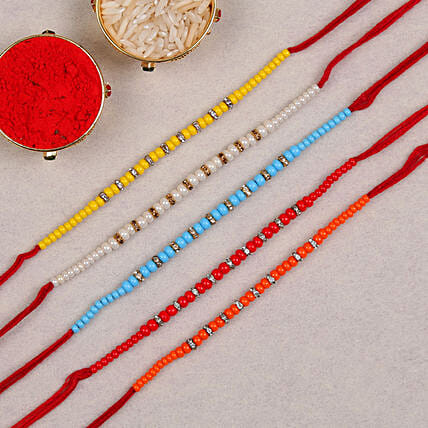set of 5 colourful thread rakhi online