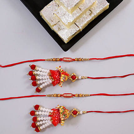 Khoya Burfi And Ethnic Rakhi Set Online