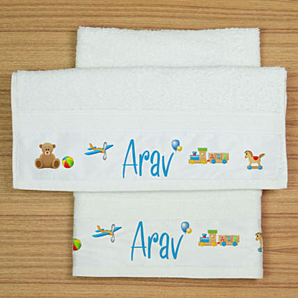 Set of Two Personalised Hand Towels