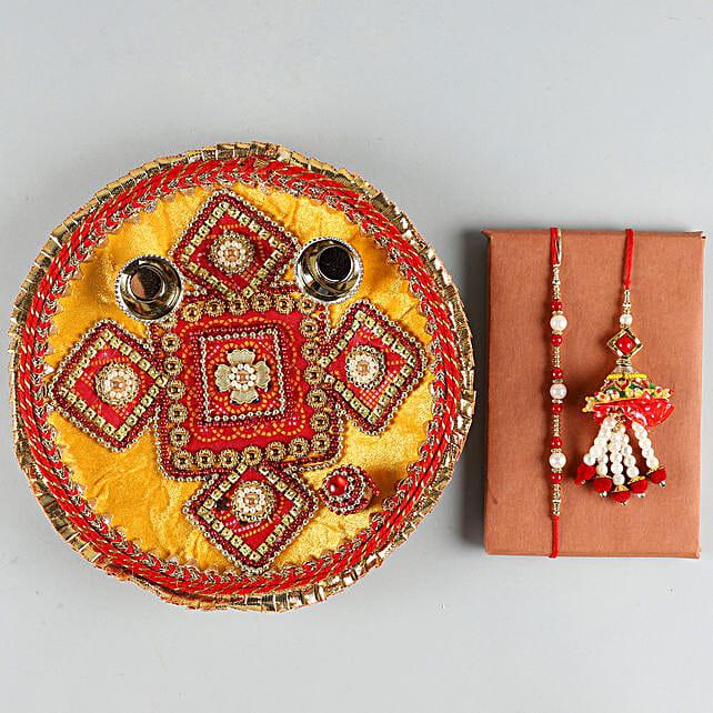 Set of Two Rakhis & Pooja Thali Combo