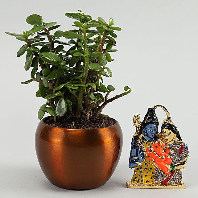 Shiva Parvati Idol Jade Plant:Send Pooja Thali