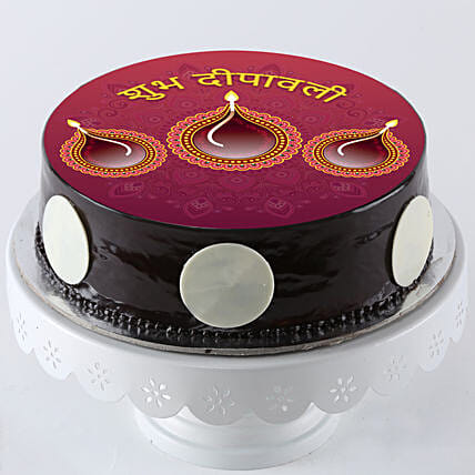 printed Diwali photo cake online:Send Happy Diwali Cakes