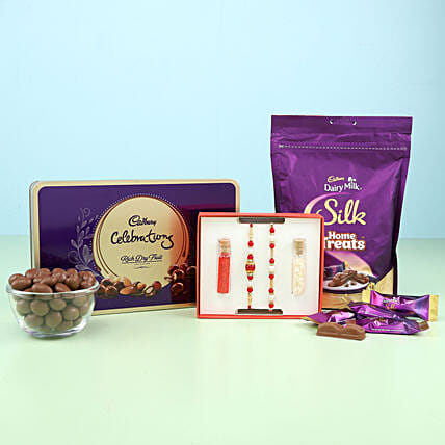 set of 2 rakhi for bro and bhabhi with cadbury surprise:Send Rakhi to Kozhikode