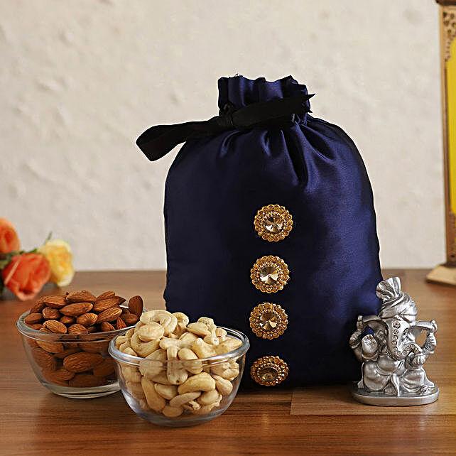 Online Silver Ganesha Idol With Dry Fruits Potli:Send Diwali Gifts for Friends