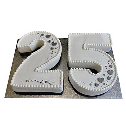 25th Birthday Number Cake 4kg:Alphabet Birthday Cake