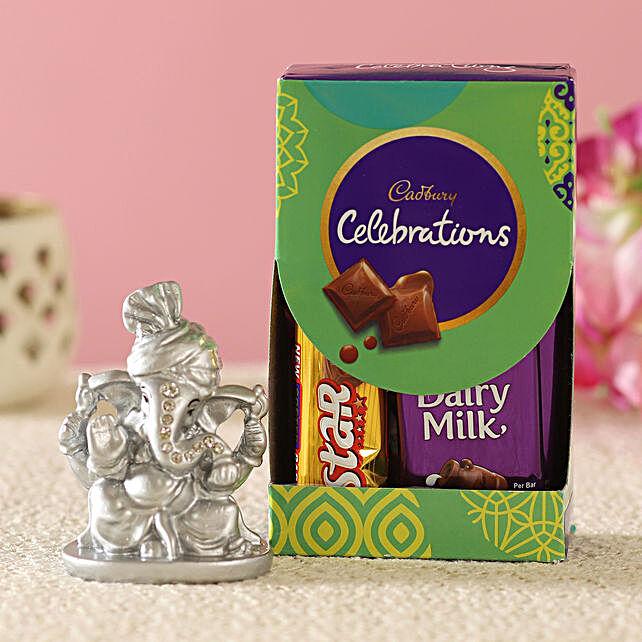 Silver Pagdi Ganesha Idol & Cadbury Combo:Diwali Gifts to Mumbai
