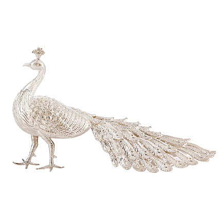 Lucky Silver Peacock For Home:Table tops